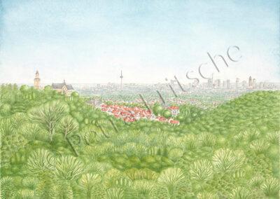 Der Malerblick ( Stadt Kronberg mit Kronberger Burg und Frankfurter Skyline)